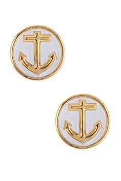 Enamel Anchor Earrings