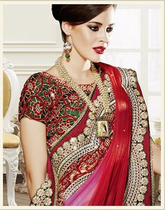 Heavy embroidery work on blouse as well as #saree border