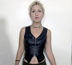 Vtg MONA MODE Genuine Leather women's zip up motorcycle vest, black w/ silver hard wear sexy skin tight biker punk rock grunge style vest