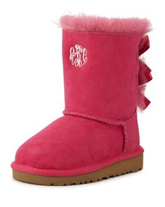 UGG Australia Monogram Bailey Boot with Bow, Cerise, 6T-12T