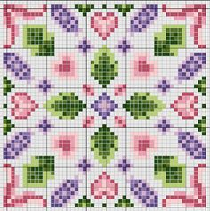 Cross-stitch biscornu ... no color chart available, just use the pattern chart as your color guide.. or choose your own colors...     Google+ Gazette94.