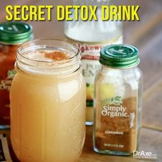 Secret Detox Drink Recipe (A Natural Detox Drink Dr. Axe's Secret Detox Drink will help your body burn fat, lose weight, detoxify, boost energy and fight diabetes! Cleanse yourself with detox drinks. Detox Drinks, Healthy Drinks, Healthy Juices, Detox Recipes, Healthy Recipes, Drink Recipes, Healthy Treats, Lunch Recipes, Healthy Foods