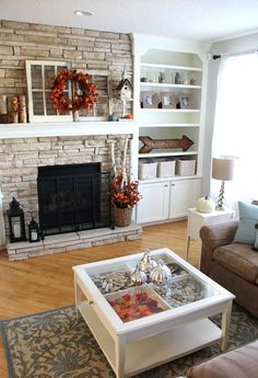 Decorating for fall! - A Pretty Life In The Suburbs love the bookcase: