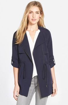 Pleione Roll Sleeve Drawstring Waist Jacket available at #Nordstrom