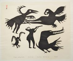Kikavik and the Hunter (1960) by Kiakshuk, stonecut