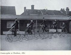 1880: Postal workers using five wheeled centre-cycles in Horsham, Sussex - the experiment was deemed a failure and they never entered wider ...