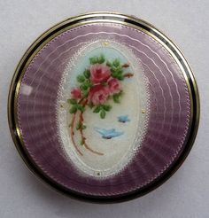 Sterling Silver Lilac Enamel Guilloche Compact by F & B Co.