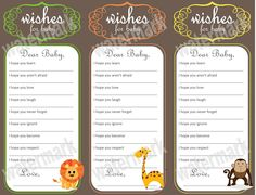 Safari, Zoo, Jungle Wishes for Baby - Baby Shower Activity (Printable). $10.00, via Etsy.