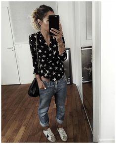 """7,149 Me gusta, 64 comentarios - Audrey Lombard (@audreylombard) en Instagram: """"La tenue de l'autre jour en entier ✨ • Silk Top #realisationpar (on @realisationpar) • Jean…"""""""