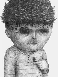 Headsongs: Graphite Portraits Morph into Landscapes