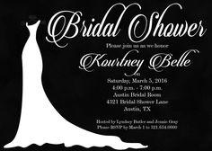 Chalkboard Style Bridal Shower Invitation, Black and White Bridal Shower Invite #Chalkboardstylebridalshowerinvitation #BridalShower