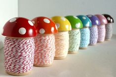 The BIG Toadstool Spool™ is so sweet and keeps your twine in a convenient place. Now with beautiful, bright new stripey twine. Each BIG Toadstool Spool™ is wound with 24 yards of coordinating twine. [This listing is for one (1) BIG Toadstool Spool™] Choose one [1] of the following Spool Crafts, Clothespin Crafts, Wood Spool, Thread Spools, Bakers Twine, Craft Organization, Over The Rainbow, Pin Cushions, Rainbow Colors