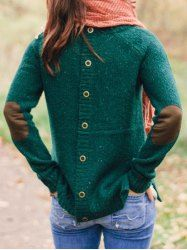 Chic Back Buttoned Elbow Spliced Pullover Sweater For Women (GREEN,S) | Sammydress.com Mobile