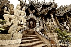 Sanctuary of Truth ~ It is entirely carved out of teak wood and features the most beautiful and elaborate wood carvings I have ever seen, inspired by the four major artistic and philosophical influences in Thailand (Chinese, Thai, Khmer and Hindu)