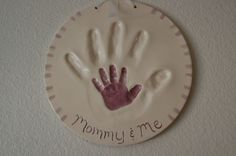 Stamped hand prints as page accent. Perfect page: accent and picture.