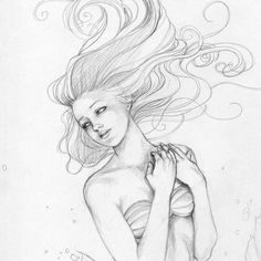 ORIGINAL  The Little Mermaid Swimming with Bubbles by sarambutcher