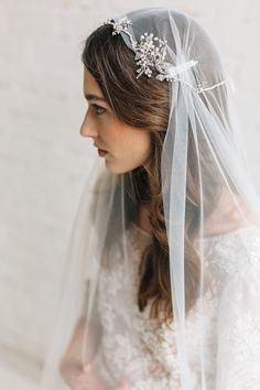 bridal halo + veil