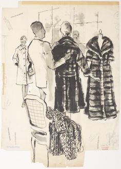 New School Archives: Digital Collections: Drawing/Painting/Print: Saks Fifth Avenue Sales Associate and Two Women in Fur Coats [KA002201_OSxxx1_f10_03]