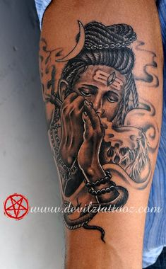 View our Lord Shiva tattoo designs work & ideas for men and women. Explore more for cute and unique Shiva tattoos ideas at Devilz Tattooz Hindu Tattoos, God Tattoos, Forarm Tattoos, Body Art Tattoos, Bholenath Tattoo, Mantra Tattoo, Sanskrit Tattoo, Shiva Tattoo Design, Forearm Tattoo Design