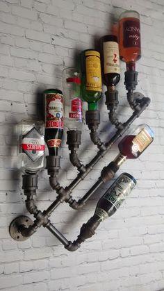 8x Industrial Wine Rack Bottle Wall Mount by DragonflyDesignPa