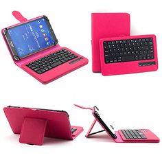 SUPERNIGHT Universal 7-8 Inch Tablet Portfolio Leather Case W/ Detachable Bluetooth Keyboard for Samsung Galaxy Note 8.0 / Tab 2 7.0 / Tab 3 7.0 / Tab 4 7.0 / Tab 3 Lite 7 / Tab 3 8.0 / Tab 4 8.0 / Tab Pro 8.4 / Tab S 8.4 / Acer A1-810 / W3-810 / iPad Mini / New iPad Mini Retina Display / Asus Memo Pad HD 7 / Dell Venue 8 Pro / Nexus 7 / Nexus 7 HD Support Android / IOS / Windows Systems. /Tablet z klawiaturą.