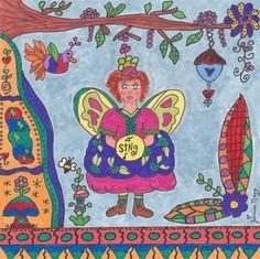 Fairy Print Folk Art Whimsical SING, Enchanted, Fantasy, Fairytale, Magic, Pixie, Vibrant, Colorful, Bumble Bee, Bird House, Flowers. $18.00, via Etsy.