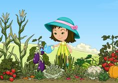Clip Art Of A Little Girl Watering Her Garden: Watering The Garden