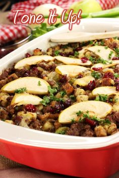 Guilt Free Gluten Free Stuffing with cinammon dried cranberries, granny smith apples, organic applesauce, vidalia onions, chichen broth, etc. for thanksgiving dinner