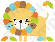 Mod Jungle Animals Nursery Wall Stickers or Prints. Brilliant Colors. Graphics by Cocoa Mint.
