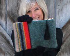 Upcycled Pendleton Wool Clutch | eHow Crafts | eHow I LOVE THIS!  Very cute and different - would go so well with my black wool dress coat!  LOVE!