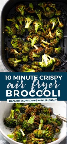 Learn how to make delicious crispy air fryer broccoli in just 10 minutes! It& so EASY, and the air fried broccoli is perfectly roasted and flavorful. Add this healthy side dish to all your favorite meals, and even the kids will devour it. Air Fryer Oven Recipes, Air Frier Recipes, Air Fryer Dinner Recipes, Fried Broccoli, Chicharrones, Air Fryer Healthy, Air Frying, Healthy Side Dishes, Healthy Sides
