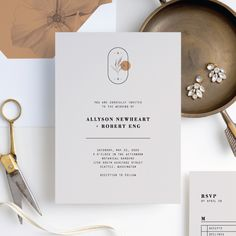 Artistic Flowers Wedding Invitation Suites from Paper Culture