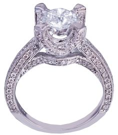 14k white gold round cut diamond engagement ring art deco 1.85ctw H-VS2 EGL USA by KNRINC on Etsy
