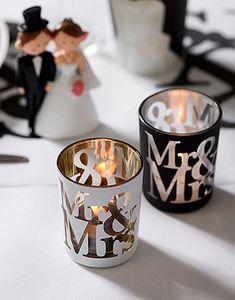 Photophore Mr & Mrs. Qu'y a t'il de plus chic qu'une décoration de mariage en doré, argenté, noir et blanc ? Rien, alors ces photophores sont l'assurance que tout sera PAR-FAIT