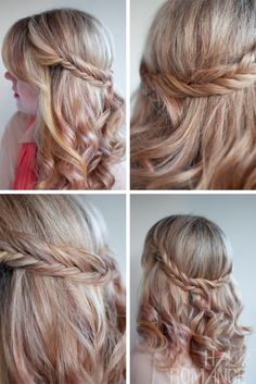 Romantic Soft Curly Fishtail Half Crown Hairstyle for Wedding
