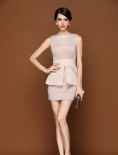 I badly want this Fashion Corner, Beige Dresses, Peplum Dress, How To Make, Stuff To Buy, Peplum Dresses, Peplum Outfit, Tan Dresses