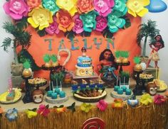 Purple Wings Events & Designs's Birthday / Moana - Photo Gallery at Catch My Party Moana Birthday Decorations, Tropical Party Decorations, Moana Birthday Party, Moana Party, Mickey Birthday, 4th Birthday Parties, Birthday Celebration, Festa Moana Baby, Moana Theme