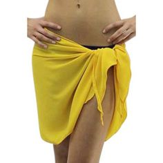 206818b3fe Yellow Semi Sheer Short Sarong Bathing Wrap ($19) ❤ liked on Polyvore  featuring swimwear, cover-ups, yellow, sheer beach cover ups, beach wrap  sarong, ...
