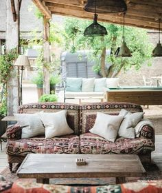 Noon George Smith Kilim Sofa at Soho Farmhouse. Picking Patterns For A Living Space. Choosing and committing to a pattern isn't easy. Here our interior designer, Vicky Charles provides some pointers. by Soho House Soho House, Outdoor Spaces, Outdoor Living, Outdoor Decor, Soho Farmhouse Interiors, Rooftop Design, Barn Renovation, Interior And Exterior, Interior Design