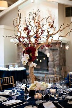 Branch Orchid and Rose Reception Table Centerpiece   photography by http://www.bound-by.com/ navy and maroon