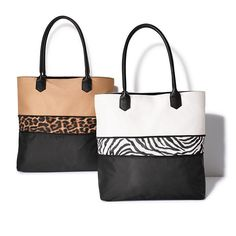 Play with patterns, update your look with the season's coolest prints! Unzip to reveal the animal-print panel and additional tote height on the Pop of Animal Print Expandable Tote.  FEATURES • Fully lined • Double handles • Snap closure at top • One zipper at middle of bag to allow bag to be expanded • One interior zipper pocket and two slip pockets • Top of bag is colored either white or khaki; bottom of bag is black • Black center zip...