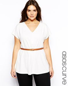 ASOS CURVE Exclusive Top With V-Neck Top With Belt