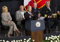 Vice President Joe Biden speaks during the during the July 9, 2013 memorial service at Tim's Toyota Center in Prescott Valley, Ariz. for the 19 members of the Granite Mountain Hotshots killed fighting the Yarnell Hill Fire. Arizona Gov. Jan Brewer is on the left.