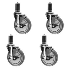 """7/8"""" Expanding Stem Caster with Brake - 5"""" Polyurethane Wheel - Work Table Tube Legs Casters Set of 4: Amazon.com: Industrial & Scientific"""