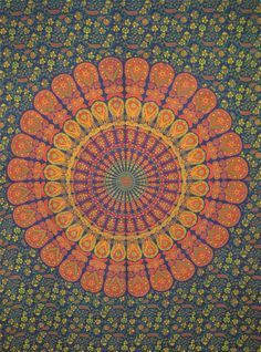*muted mandala colours*love it, orange, tumeric yellow, viridian & magent purple. Mandala Throw, Mandala Art, Yoga Room Design, Zen Space, Crazy Art, Indian Mandala, Sketchbook Inspiration, Mandala Coloring, Beautiful Wall