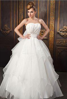 Long Length Organza Ruffle Ball Gown Bridal Dress