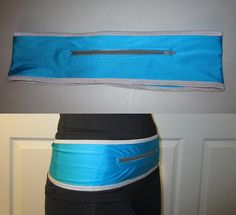 DIY Running belt to hold your phone, keys etc. Link to tutorial provided.
