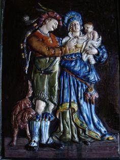 Historismus Bildplatte Relief Schmuckkachel Ofenkachel Keramik Teichert Majolika in Antiquitäten & Kunst, Porzellan & Keramik, Keramik | eBay