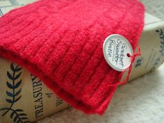 Kindle Gadget Sweater Sleeve RED HOT Cover Case Upcycled Ecofriendly by WormeWoole