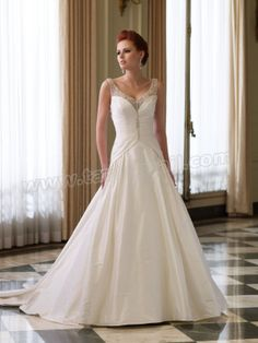 Shantung Strapless Sweetheart Beautifully Hand-Draped Bodice A-line Wedding Dress